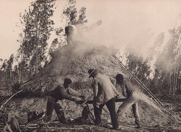 Carboneros trabajando en la carbonera