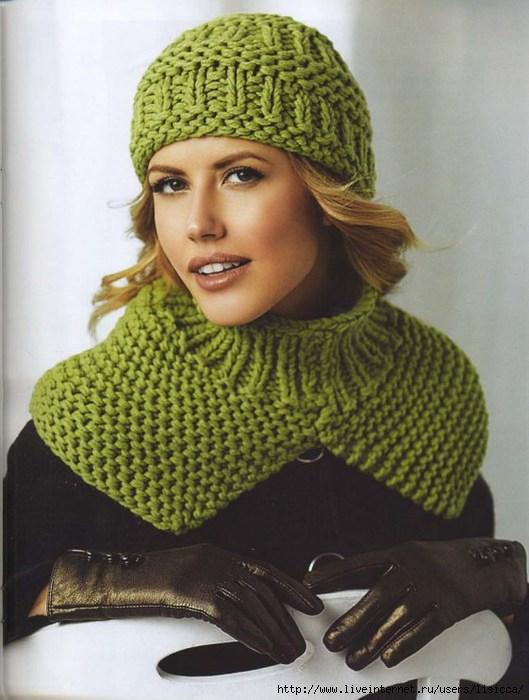 Вязание спицами зеленой шапки и манишки для женщин: схема ...