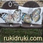 Роспись ткани акрилом.Подушка Бабочка