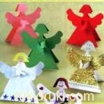 Новогодние поделки из бумаги: ангелочки.