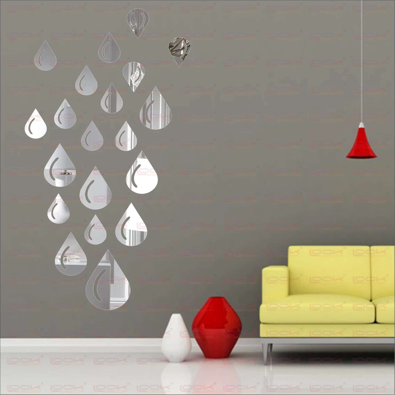 Look Decor Extra Large Drop Silver Pack Of 19 Acrylic