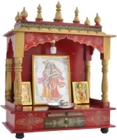 Marusthalee Wooden Temple with LED Light Solid Wood, Engineered Wood Home Temple