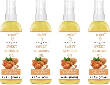 Vadhika 100 Pure Cold Pressed Sweet Almond Oil For Massage Hair Skin Under Eye Hair Oil 100 Ml Pack Of 3 Bottle 300ml Hair Oil 300 Ml Hair Oil Price In India Buy Vadhika