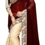 SNH Export Self Design, Embroidered Bollywood Poly Georgette Saree(Brown, Cream)