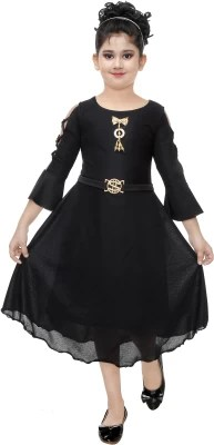 FTC FASHIONS Girls Midi/Knee Length Party Dress(Black, 3/4 Sleeve)