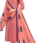 Oomph! Cotton Polyester Blend Solid, Printed Kurta & Churidar Material(Semi Stitched)