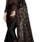 G-Stuff Fashion Printed, Embellished Bollywood Lycra Blend Saree(Brown, Black)