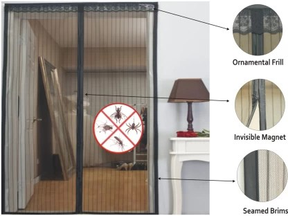 meded magnetic door mesh with invisible magnets 210 cm 7 ft polyester door curtain single curtain