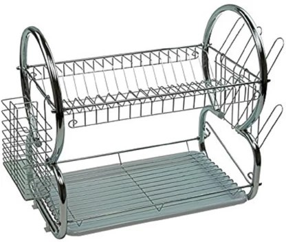 maison cuisine dish rack steel 2 tier multi function stainless steel dish drying rack cup drainer strainer silver one 42cm 8 utensil kitchen rack