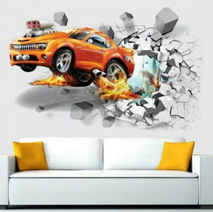 Whether you cover an entire room or a single wall, wallpaper will update your space and tie your home's look. Impression Large Impression Orange Car 3d Wallpaer Wall Poster Wallpaper Wall Sticker Home Decor Stickers For Bedrooms Living Room Hall Kids Room Play Room Price In India Buy Impression Large Impression