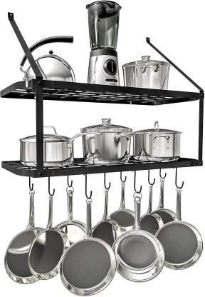 geo fashion shelf pot rack wall mounted pan hanging racks 2 tire black utensil kitchen rack