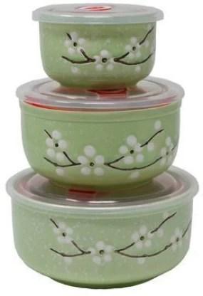 biz international round shape ceramic glass airtight microwave bowl set with lid 3 piece ceramic vegetable bowl