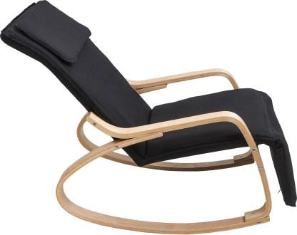 uberlyfe relax rocking chair with foot rest design lounge chair recliners polyester fabric cover with cushion black color rch 001770 rock bk