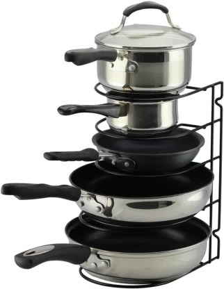 geo fashion pot rack organizer black metal kitchen 5 pots holder height and tawa rack cabinet pantry pot lid holder no assembly required upgraded