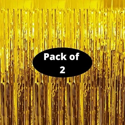 propsicle 3 ft x 6 ft gold foil fringe curtain set of 2 stunning gold party backdrop for christmas new years eve bachelorette birthday