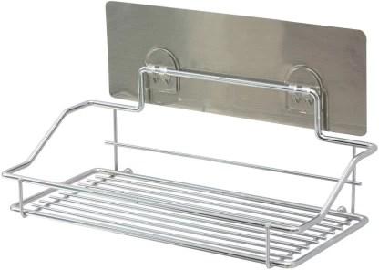 hokipo magic sticker series self adhesive chrome plated metal kitchen bathroom shelves steel wall shelf