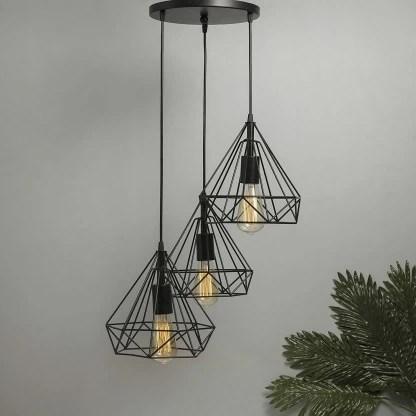 lumina plus led lighting diamond cluster pendant light black finish decorative chandelier roof light lamp for home living room bedroom hall indoor