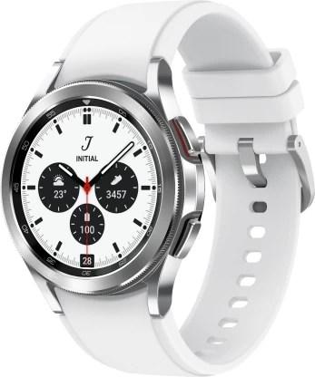 SAMSUNG Galaxy Watch4 Classic LTE (4.2cm) Smartwatch(Silver Strap, Free Size)