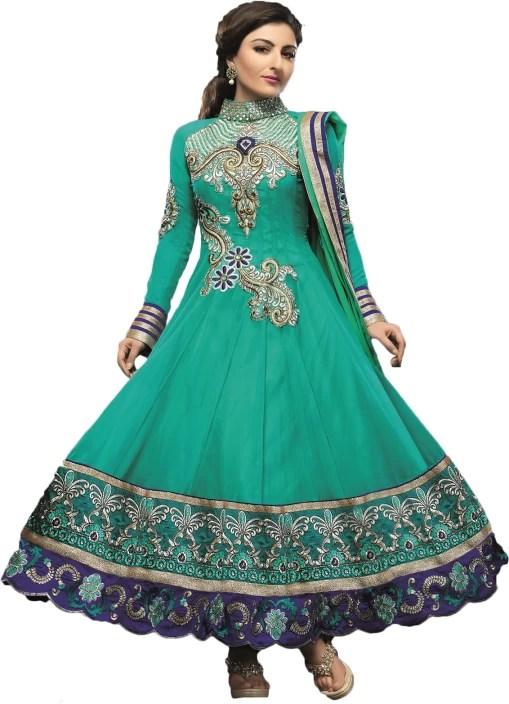 Adah Fashions Self Design Kurta & Churidar - Buy Blue Adah ...