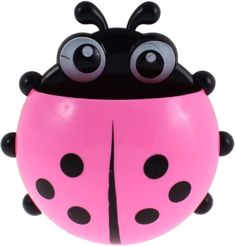 Swarish Ladybird Design Suction Cup Plastic Toothbrush Holder(Multicolor, Wall Mount)