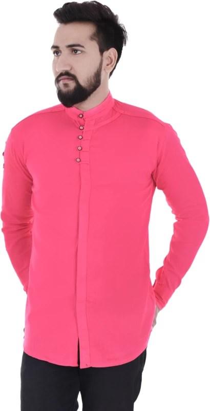 VERO LIE Men Solid Casual Pink Shirt