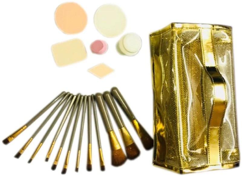 fundatraders Funda Trader Makeup kit with complete package (12 pc brush set , spounge puff 6 pc set , 4 zip toiletry bag / makeup organizer ))(Set of 3)