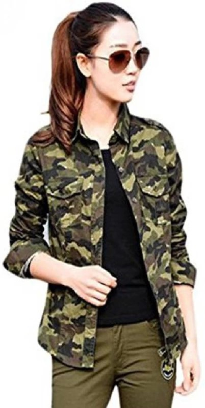 ItkiUtki Women's Military Camouflage Casual Green Shirt