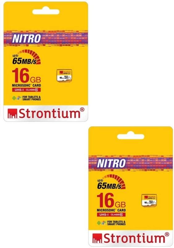 Strontium Nitro 16 GB MicroSD Card Class 10 65 MB/s Memory Card