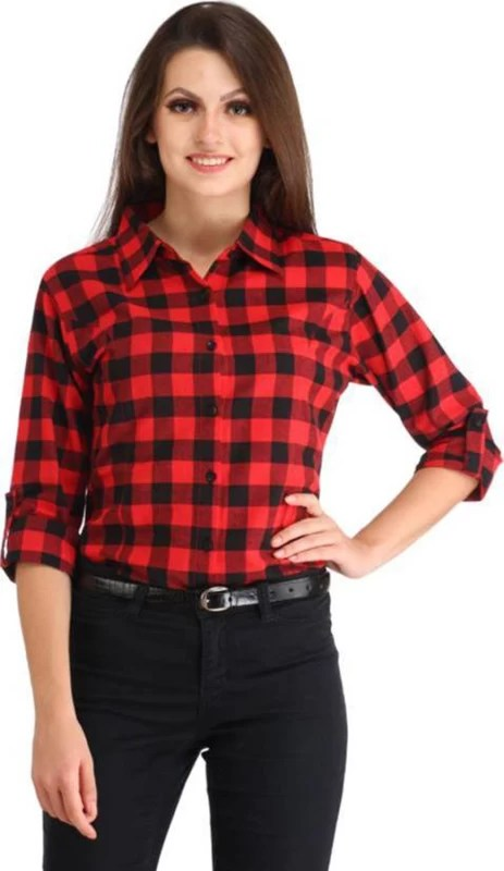 C.Cozami Women's Checkered Formal Red Shirt