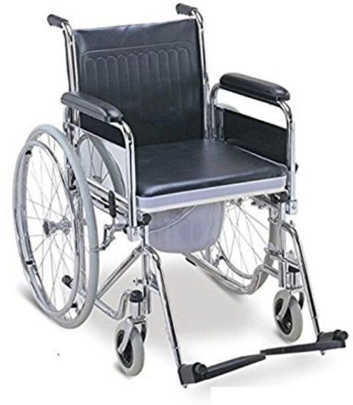 2c251eb9988 Trm Folding Wheelchair With Toilet Commode Rear Mag Wheel 12 Manual