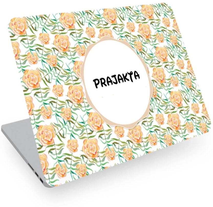 Posterchacha Prajakta Name Floral Design Laptop Skin Vinyl