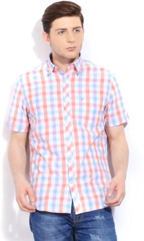 John Players Men's Checkered Casual White, Blue, Pink Shirt