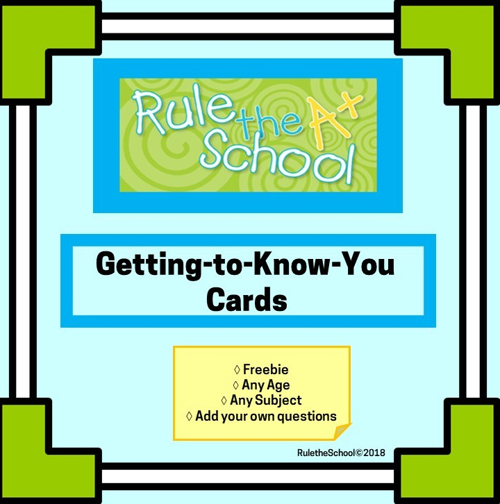 Getting To Know You Cards Free from Rule the School