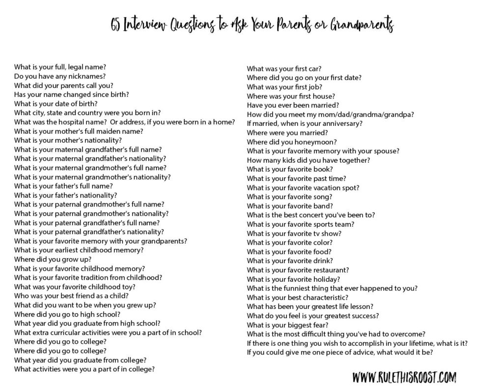 65 interview questions for kids to ask their parents or grandparents click on the image below to download your free printable list of interview questions thecheapjerseys Gallery