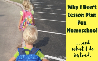 Why I don't lesson plan for homeschool. Here's what I do instead for our homeschool/eclectic homeschool/unschool. Lesson planning | Reggio Emilia | Provocations | Unschooling | Homeschooling