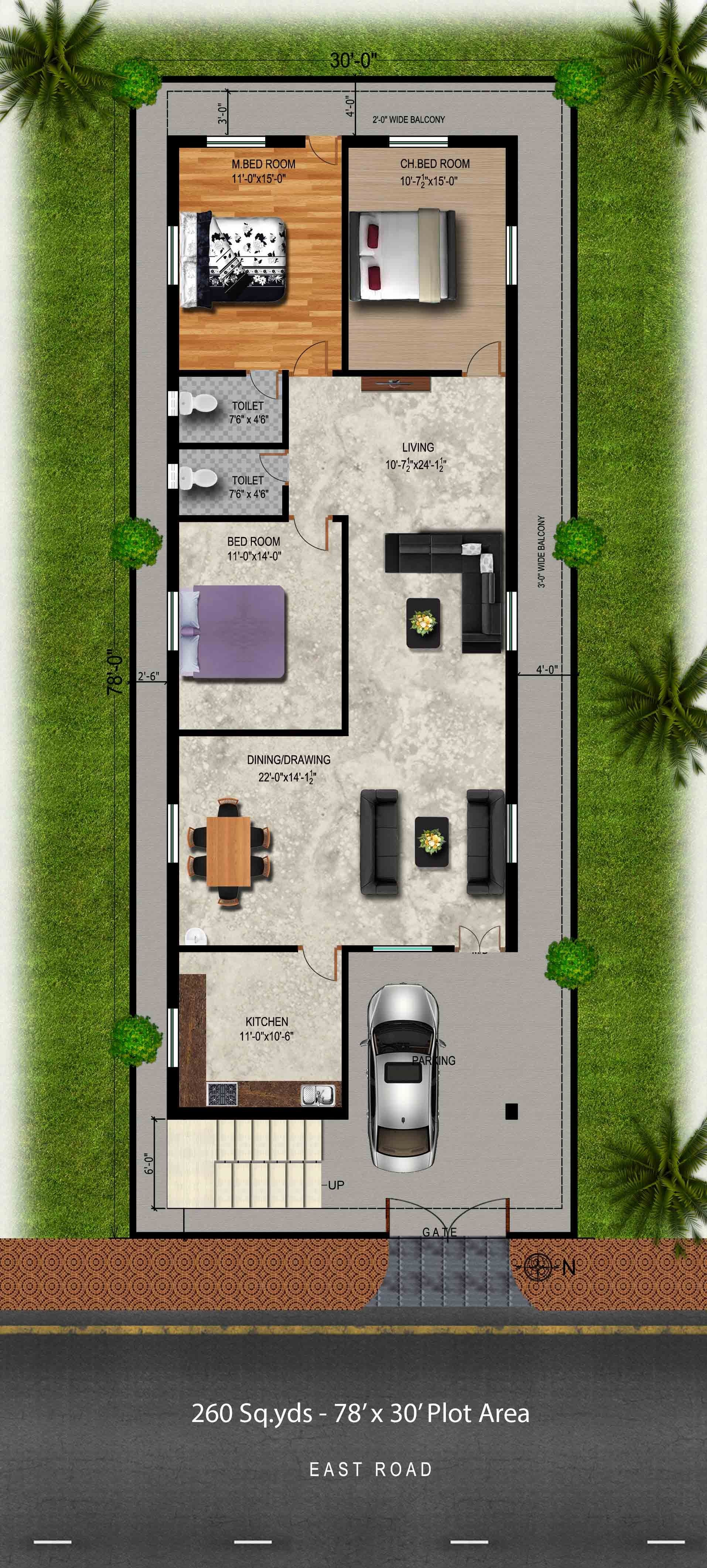 Download Free plans 260 sq yds 30x78 sq ft east face house 3bhk elevation view House Drawings with Plan View Elevation View & Isometric View