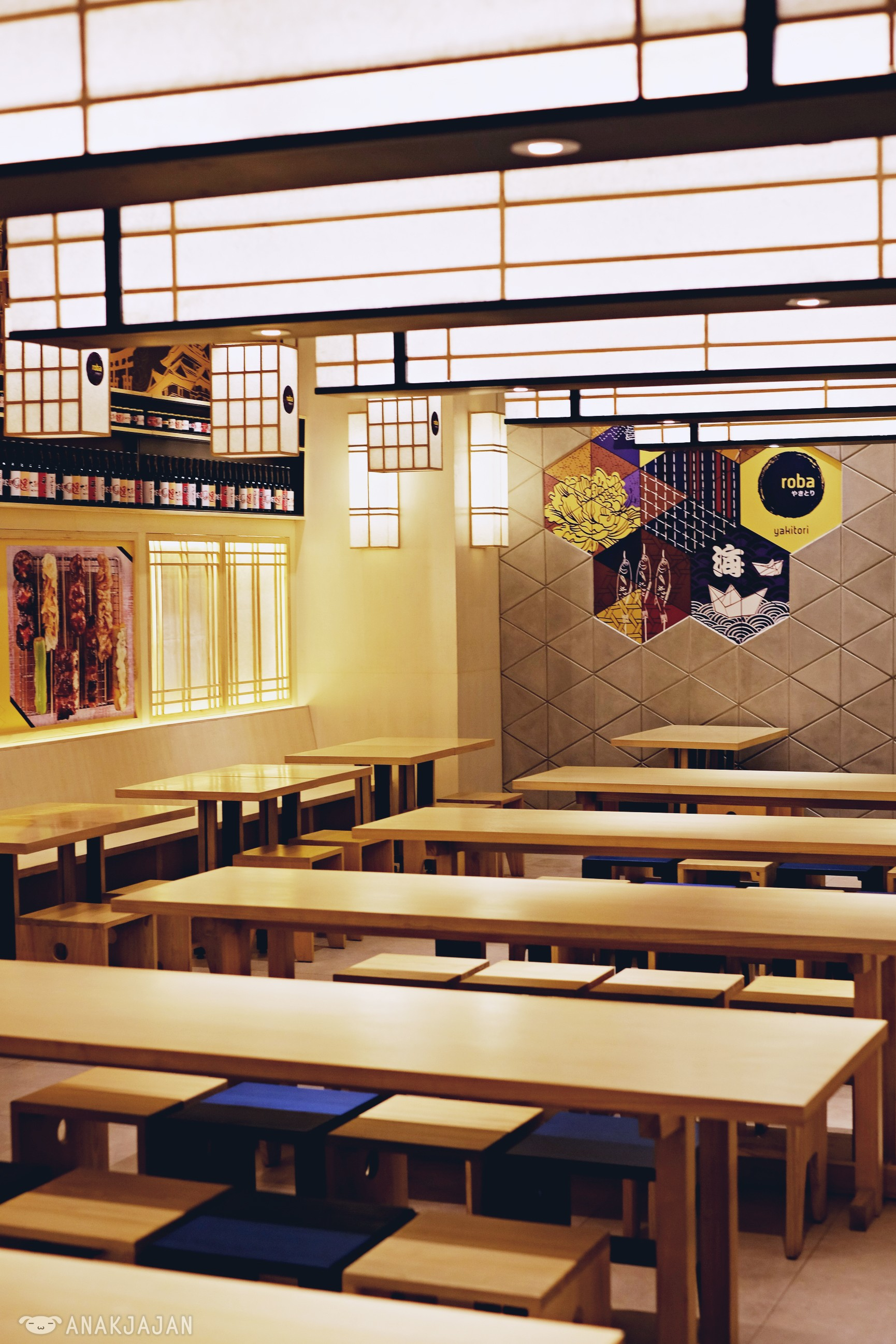 Interior at Roba is pretty cozy with light wooden furniture and full of Japanese decoration also with Japanese song being played