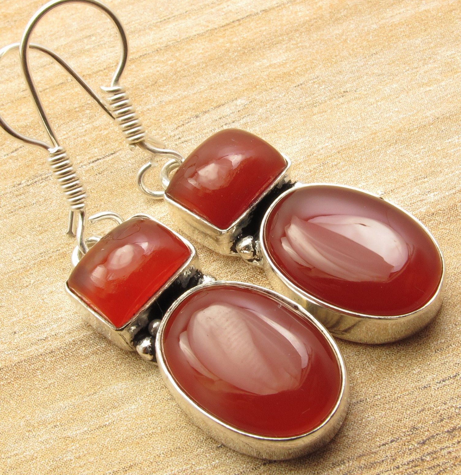 Perak Overlay 2 BATU Earrings Red CARNELIAN Handcrafted Jewelry 4