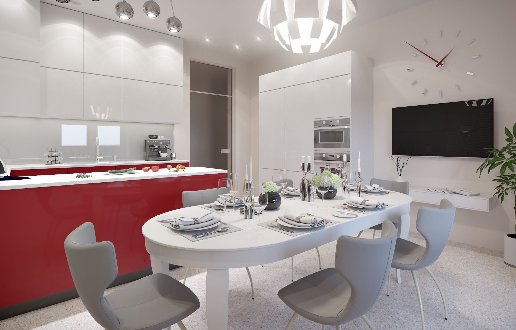 Interior design of modern kitchen with dining room using modern lamps mainly in white color