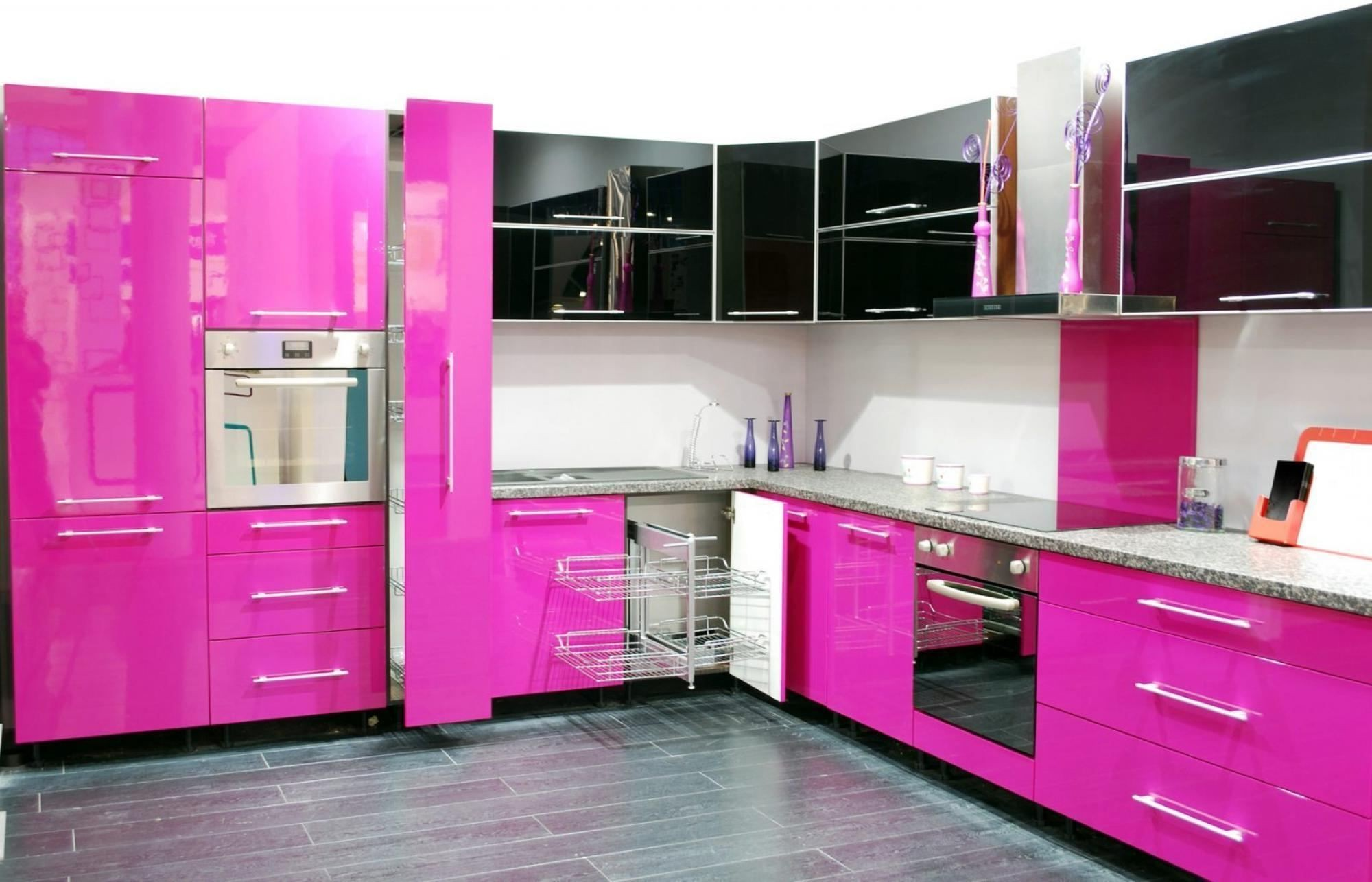 Kitchen Modern Pink Kitchen Old Fashioned Fireplace Built In Oven And Microwave Metal Frame Bar Stools Black Polished Marble Floor Rectangular Brown High