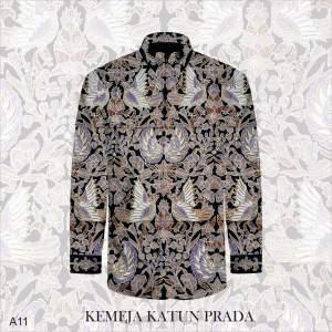 Kain Batik Tulis Bahan Katun Satin Prada Tinta Emas A11