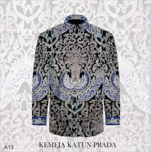 Kain Batik Tulis Bahan Katun Satin Prada/Tinta Emas A13