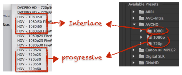 interlace progressive settings