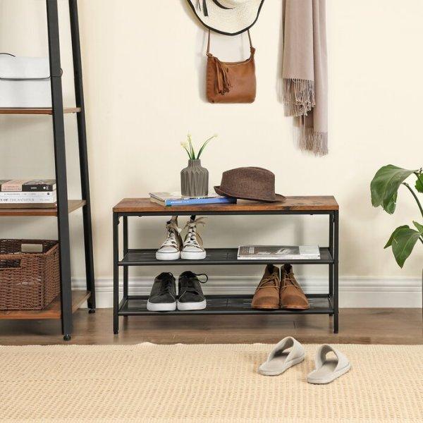 Rak Sepatu Stainless Kayu Klasik