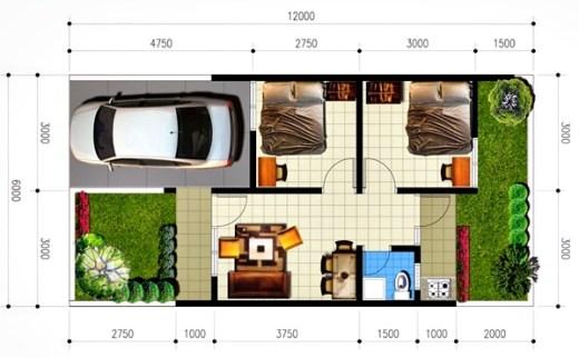 Desain Denah Rumah Minimalis 1 Lantai Type 36 8