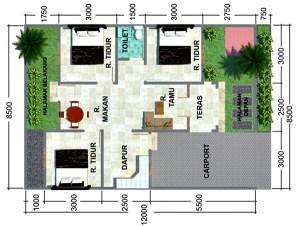 10 desain denah rumah minimalis 1 lantai tipe 36 populer 2018