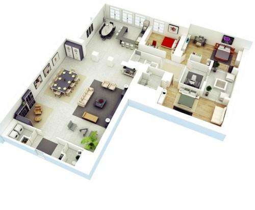 Denah Rumah Minimalis 1 Lantai 3 Kamar Tidur 11 - 18 Gambar Denah Rumah Minimalis 1 Lantai 3 Kamar Tidur Terbaik
