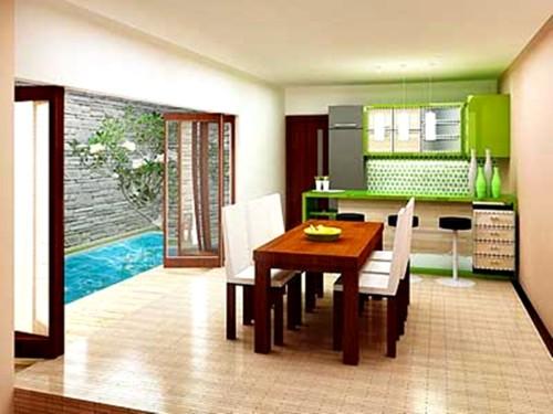 Desain Dapur Minimalis Terbuka Dekat Taman Belakang Rumah