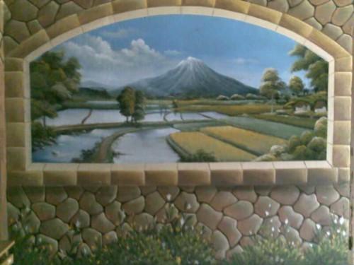 Lukisan Dinding 3D Gunung dan Persawahan - 20 Gambar Lukisan Dinding Ruangan 3D Pemandangan Alam dan Hewan