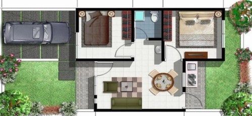 Bentuk Rumah Minimalis Ukuran 7x9 Memanjang